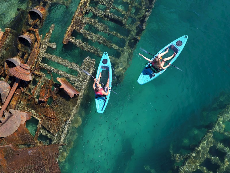 Top Four Islands in Queensland to go Sea Kayaking Tangalooma Wrecks Moreton Island