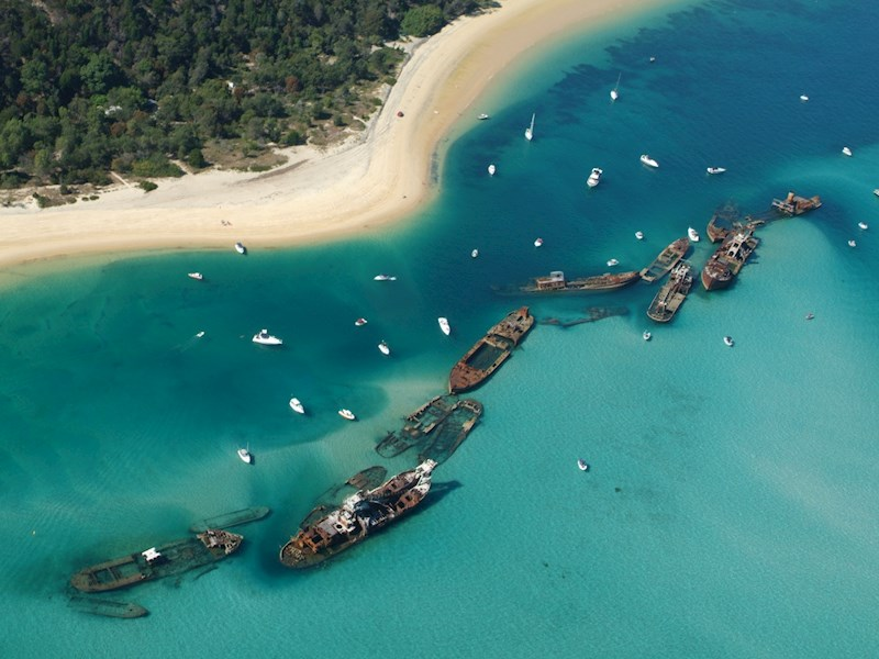 Four Spectacular Places to go Kayaking in Queensland Tangalooma Wrecks Moreton Island